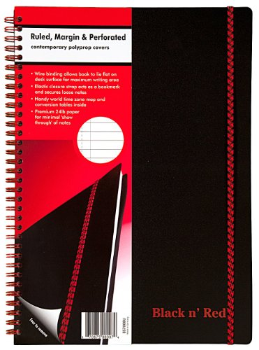 51WEWLUMUHL. SL500  Black n Red Twin Wire Poly Cover Notebook, 11 3/4 x 8 1/4 Inches, Black, 70 sheets (140 pages) (E67008)