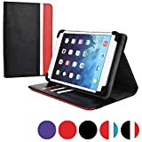 Cooper Cases (TM) Diplomat Striped Acer Iconia Tab A100 / A101 / A110 / A1-830 Portfolio Case in Black & Red (Universal Fit, Business/Credit Card Slots, 360-Degree Rotating Viewing Stand, Elastic Strap Cover Lock)