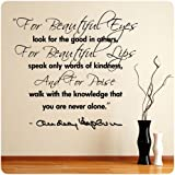 Audrey Hepburn Beautiful Eyes Lips Poise Wall Decal Decor Quote Art Sticker