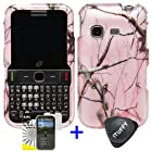 3 items Combo: ITUFFY (TM) LCD Screen Protector Film + Case Opener + Silver Pink Pine Tree Leaves Camouflage Outdoor Wildlife Design Rubberized Snap on Hard Shell Cover Faceplate Skin Phone Case for Samsung S390G (Straight Talk / Net 10 / Tracfone)