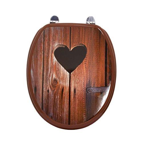 Carpemodo WC Sitz WC Deckel Klodeckel MDF robustem Holzkern Antibakteriell Scharniere aus Metall Größe 43x36 cm, Design Holzherz, braun lackiert