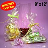 "100 Clear Cello/Cellophane Bags - Flat 9"" x 12"" - Wedding Favors Party Gift Basket Supplies with Twist Ties"
