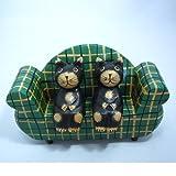 バリ雑貨 木彫りアニマル 仲良しネコ2匹(緑ソファ)