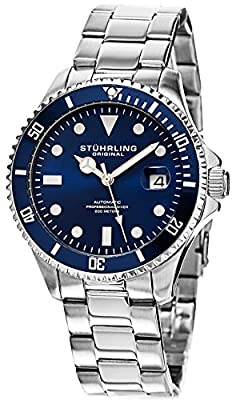 "Stuhrling Men's Watch HN792.02 Specialty Automatic Sport ""Aquadiver Regatta"" Date Stainless Steel Link Bracelet Blue Dial Diver Watch"