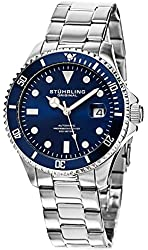 "Stuhrling Men's Watch HN792.02 Specialty Automatic Sport ""Aquadiver Regatta"" Date Stainless Steel Link Bracelet Blue Dial Diver Watch"