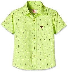 UFO Boys' Shirt (AW16-WF-BKT-253_Lime Green_14 - 15 years)