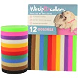 WhelpIDcollars - Puppy ID Bands - 12 Colours: Soft Fabric Velcro, Washable Adjustable