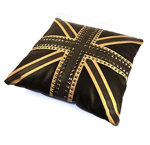 """Union Jack Studded Black Leather Jumbo Cushion 45cm / 18"""""""