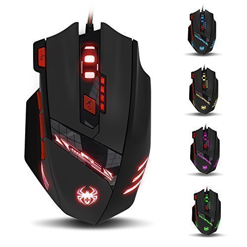 THINKTANK T90 Zelotes 9200 DPI High Precision Wired USB Gaming Mouse Computer Mice for PC, MAC, 8 Buttons, Weight Tuning Set, Multi-Modes LED lights(Black)