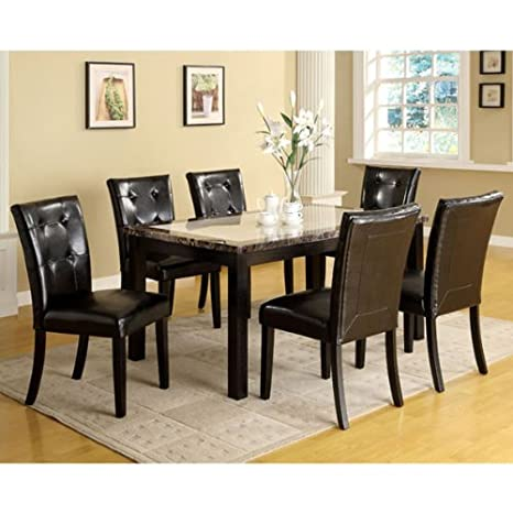Atlas Black Faux Marble Top Dining 7-Piece Table Set