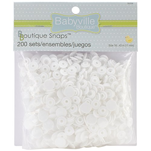 Why Choose Babyville Boutique Snaps, Size 16, White, Set of 200