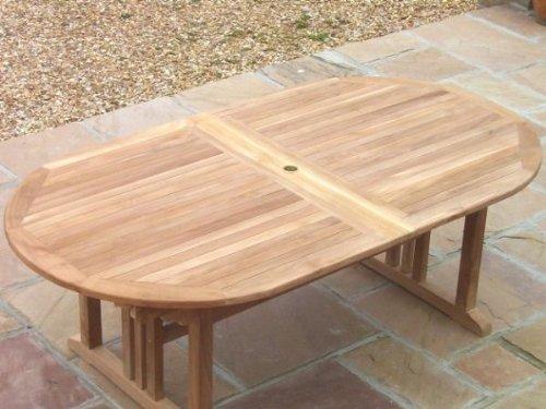 Teak Oval Pedestal Table 100cm x 190cm