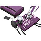 ADC Pro's Combo II SR Adult Pocket Aneroid/Scope Kit with Prosphyg 768 Blood Pressure Sphygmomanometer and Adscope Sprague 641 Stethoscope with Nylon Carrying Case, Purple