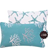 "Wonders of the Seas Turquoise Collection - 12x20"" Lumbar Couch / Bed Toss Pillow with Feather Insert - Ocean, Sea, Coral and Star Fish - Turquoise Blue, White and Gray / Grey Hues - 1 Pillow, 2 Looks"
