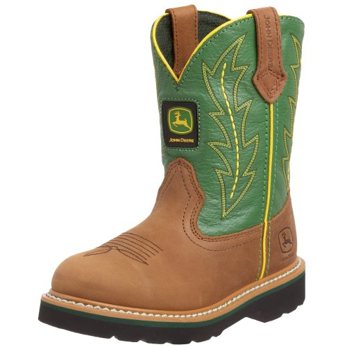 John Deere 2186 Western Boot (Toddler/Little Kid),Tan/Green,10.5 M Us Little Kid front-1005252