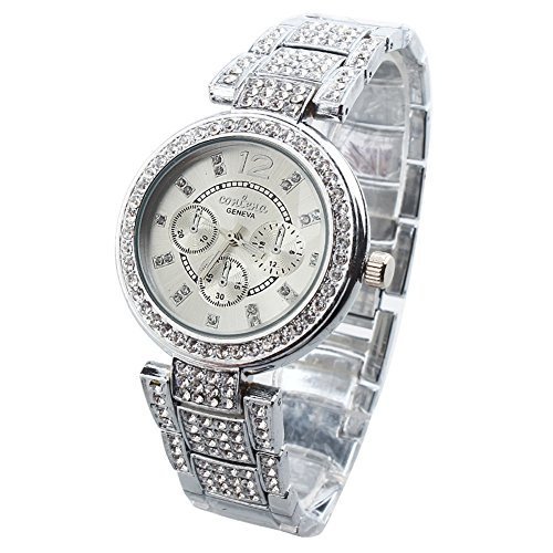 Women's Ladies Bracelet Wrist Watches with Diamond Face Luxury Silver