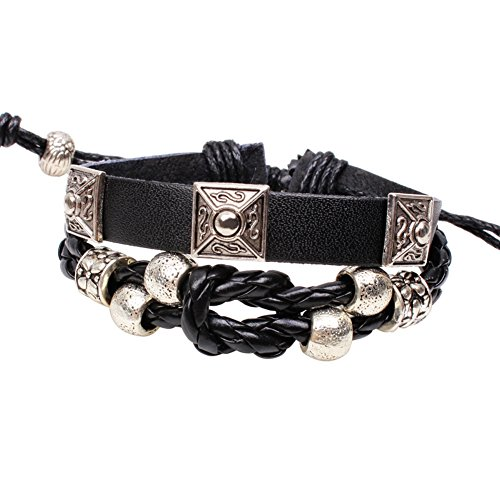 Black Snake Skin Leather Bracelet with Retro Metal Accessories Adjustable Cuff Charm Bangle (Homemade Indian Boy Costumes)