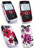 Emartbuy Nokia E63 Bundle Pack of 2 Gel Skin Cover / Case - Oriental Flowers & Purple Bloom