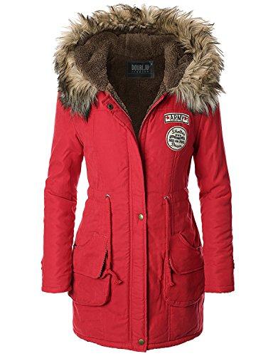 Doublju Womens Faux Fur Trim Hooded Casual Packable Down Jacket