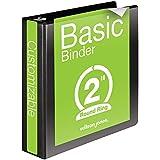 Wilson Jones Round Ring View Binder, 2 Inch, Basic, 362 Series, Customizable, Black (W362-44B)