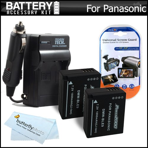 2 Pack Battery And Charger Kit For Panasonic Lumix Dmc-Gf3 / Dmc-Gf3K / Dmc-Gf5 / Dmc-Gf5K Digital Camera Includes 2 Extended Replacement (1000Mah) For Dmw-Ble9 Battery (Decoded!) + Ac/Dc Travel Charger + Lcd Screen Protectors + Microfiber Cleaning Cloth