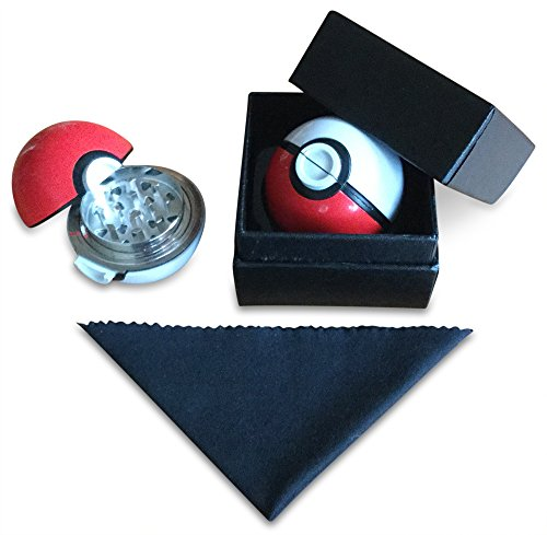 Pokmon-Herb-Grinder-by-GO-LOCO-22-Pokeball-Tobacco-grinder-Spice-grinder-Weed-Grinder-INCLUDES-FREE-CLEAN-CLOTH-3-Piece-Grinder-with-Pollen-catcher-for-herbstobaccoweed