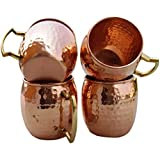 Hammered Copper Moscow Mule Mug Handmade of 100% Pure Copper, Brass Handle Hammered Moscow Mule Mug / Cup.