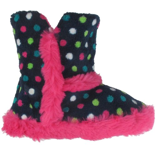 Image of Capelli New York Printed Chamois Boot With Bunny Fur Trim Girls Indoor Slipper (B005WUSRXA)