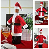 Generic Christmas Decoration 2pcs/set Wine Bottle Set Of Christmas Santa Claus' S Cloth With Christmas Cap - KC017