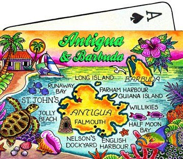 Antigua & Barbuda Map Collectible Souvenir Playing Cards
