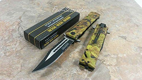 Tac-force Spring Assisted Open Sawback Bowie Rescue Jungle Camo Pocket Folding Knife!!