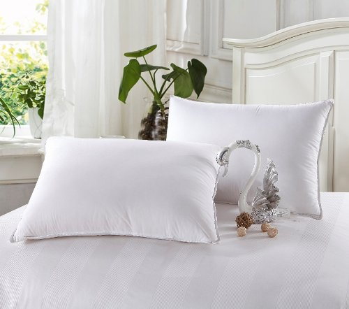 Egyptian Bedding Goose Down Alternative Pillows - 1200 Thread Count Egyptian Cotton , Soft, King Size, Set of 2