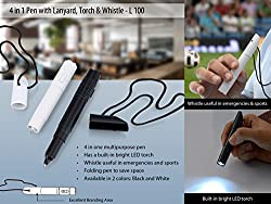 4 In 1 Pen With Lanyard, Torch and Whistle Black