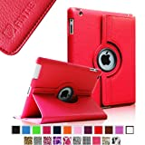Fintie 360 Degree Rotating Stand Smart Cover PU Leather Case with Wake/Sleep Function for Apple iPad 4th Generation Retina Display/New iPad 3 /iPad 2 - Red