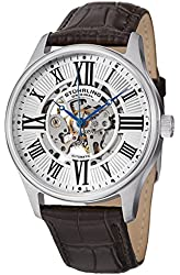 Stuhrling Men's 747.011 Automatic Skeleton Watch with Transparent Dial Stainless Steel Case On Brown Leather Strap