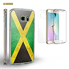 buy Spots8® Full Body Protection Case For Samsung Galaxy S 6 Edge, Bundle Pack Of 1 Front/Sides Coverage Piece & 2 Hard Back Pieces In Crystal Clear And Design [Jamaica Flag]