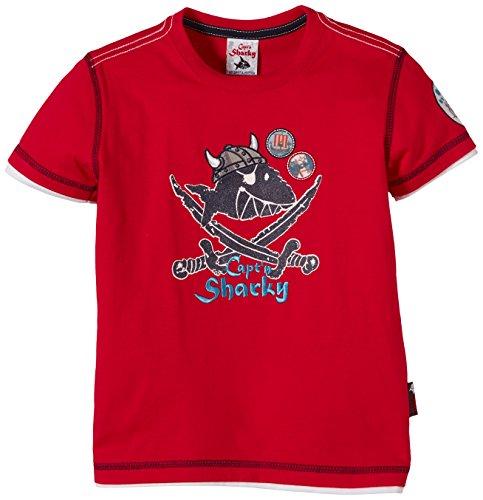 Capt'n Sharky by Salt & Pepper - T-Shirt Sharky Uni 2Layer, T-shirt da bambini e ragazzi,  manica corta, rosso(rot (red 353)), taglia produttore: 92/98