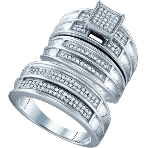 Sterling Silver 3/8 ct. Micro Pave Se Diamond Trio Engagement Set