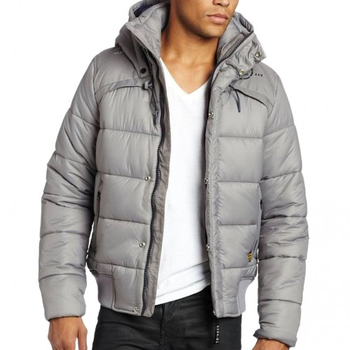 G-Star Raw Mens Whistler Padded Hooded Bomber Jacket Coat in Avalanche Grey - xl