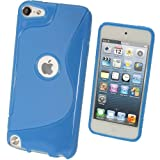 IGadgitz Dual Tone Blue Crystal Gel Skin (TPU) Case Cover for Apple iPod Touch 5th Generation 5G 32GB 64GB + Screen Protector