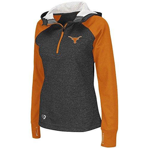 Womens NCAA Texas Longhorns Free Style Half-Zip Raglan Hoodie (Heather Charcoal) - 2XL