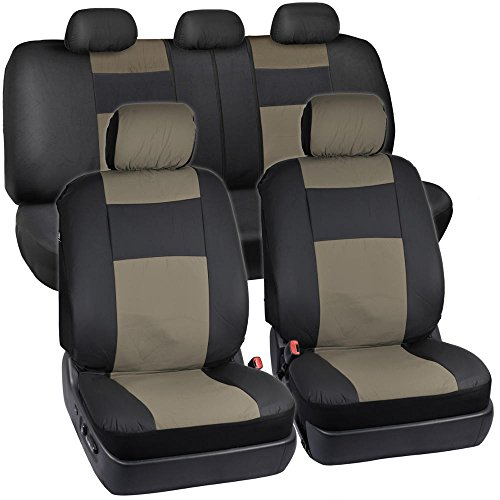 Black & Beige Synthetic Leather Seat Covers for Car SUV Auto Two Tone Style (Front Leather Seat Covers compare prices)