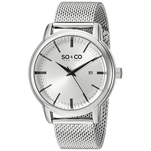 So & Co New York Madison Men's Quartz Watch with Silver Dial Analogue Display and Silver Stainless Steel Bracelet...