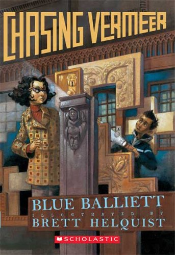 Cover of the juvenile book Chasing Vermeer by Blue Balliett--shows two kids looking for clues around artwork.