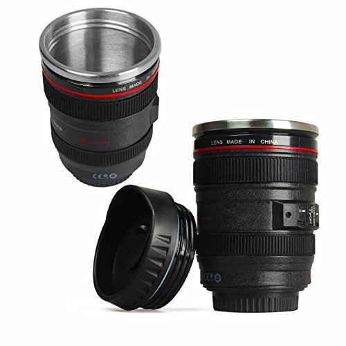 GPCT Canon Lens Coffee Mug- Travel Size Thermos Cup W/ Stainless Steel Insulation. Easy Clean Lid. 12oz (400mL)- Black