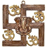 VINAYAK CRAFTERS Wall Hanging Of Lord Ganesha On Swastik With Om Showpiece