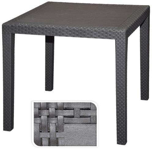 Gartentisch-Tisch-Bistrotisch-Beistelltisch-Rattan-Optik-anthrazit-79-x-79-cm