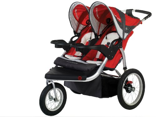 Schwinn Turismo Swivel Double Jogger, Red/Gray