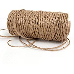 Ling's moment 150 Feet Natural Jute Twine Rope 3 Ply Best Arts Crafts Gift Tags Wrapping DIY Decorations