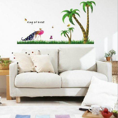 """King Of Birds""Removable Living Room Television Background Environmental Pvc Wall Stickers Peacock And Coconut Tree front-578187"